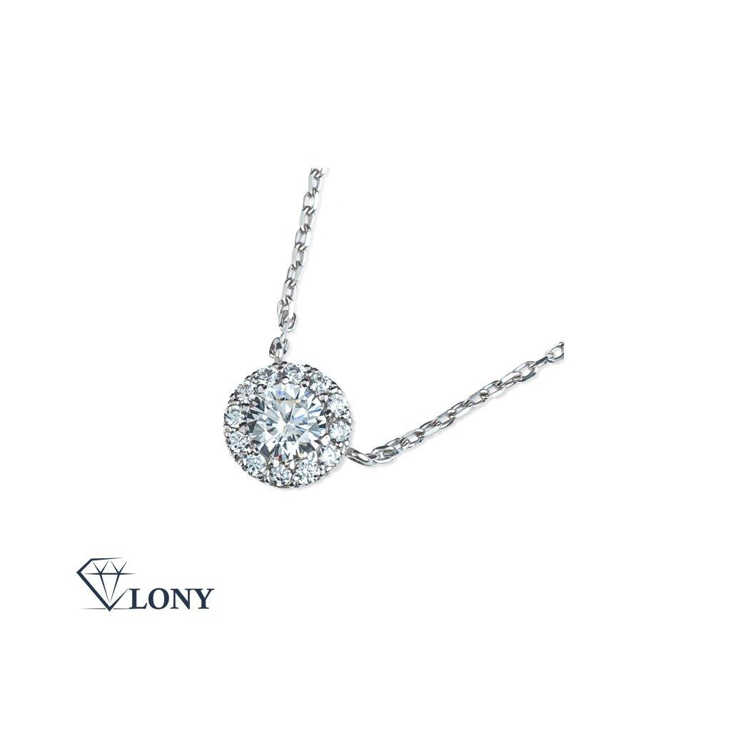Mirabel náhrdelník z bílého zlata se zirkony