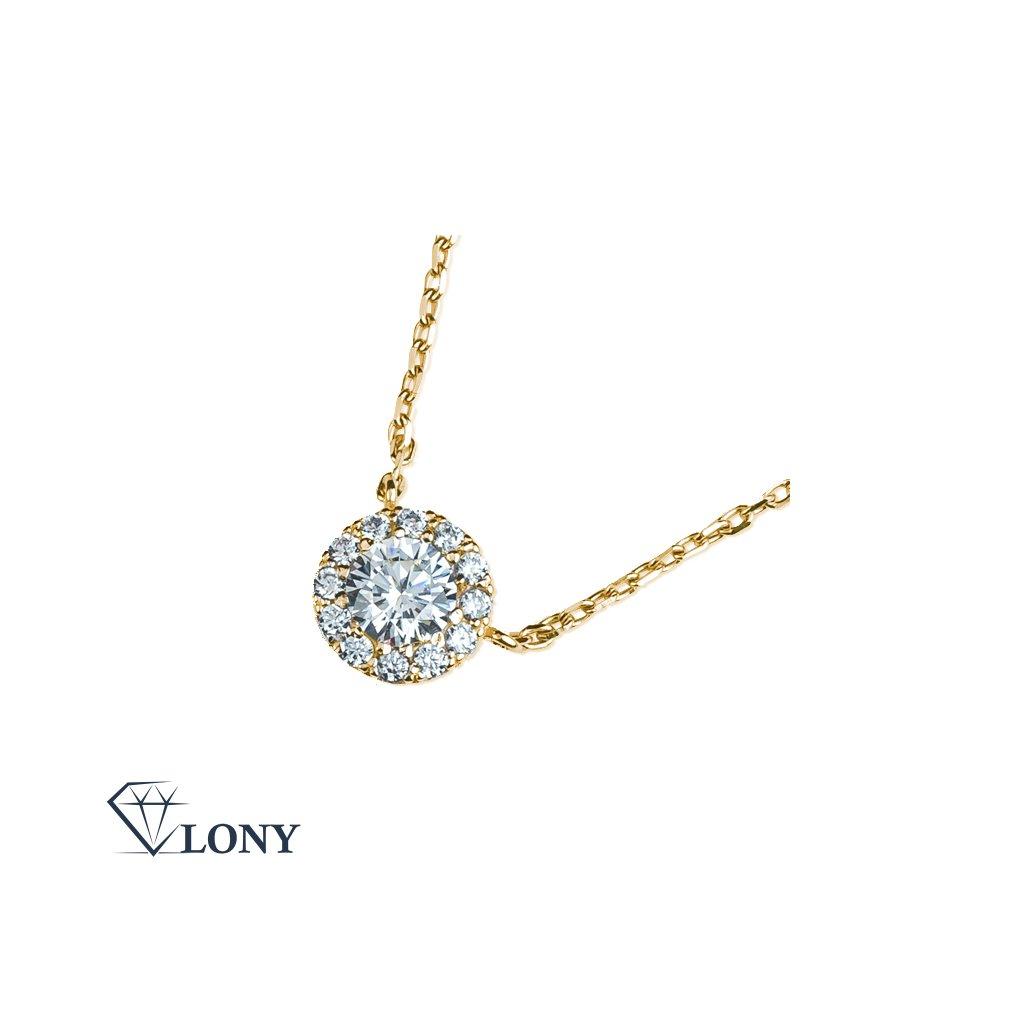 Mirabel náhrdelník ze žlutého zlata se zirkony