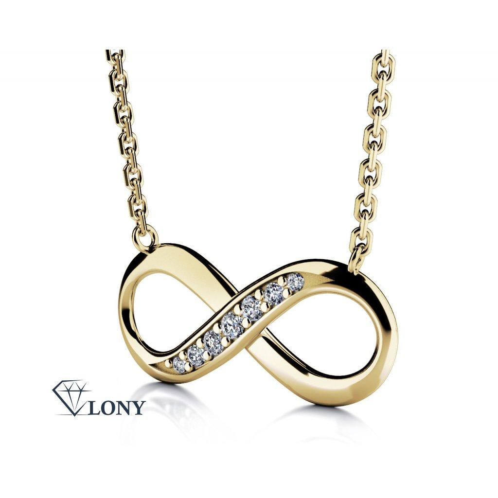 Infinity náhrdelník ze žlutého zlata se zirkony