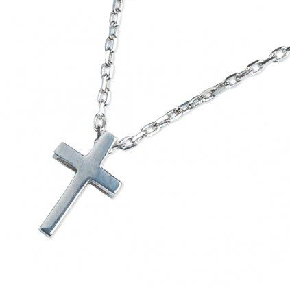 Mary náhrdelník z bílého zlata se symbolem křížku