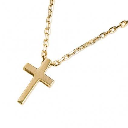 Mary náhrdelník ze žlutého zlata se symbolem křížku