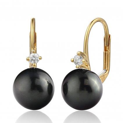 Morgan diamantové náušnice ze žlutého zlata s tahitskou perlou