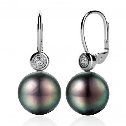 Fay perlové náušnice s tahitskou perlou vyrobené z bílého zlata doplnené o zarivé zirkony