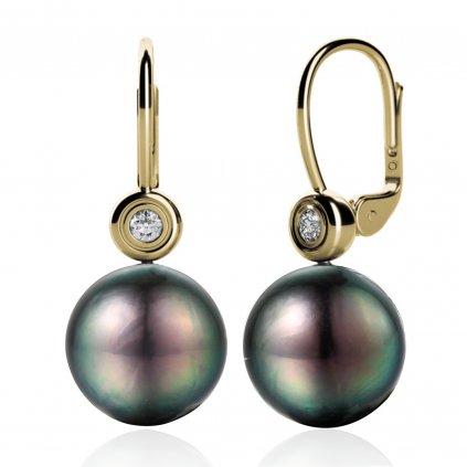 Fay perlové náušnice s tahitskou perlou vyrobené ze žlutého zlata doplnené o zarivé zirkony