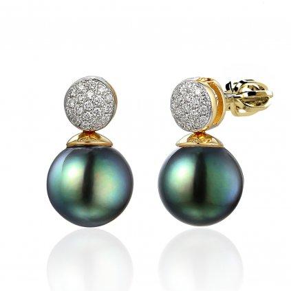 Gabrielle diamantové náušnice z bílého zlata s tahitskou perlou