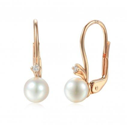 Estelle diamantové náušnice z růžového zlata se sladkovodní perlou