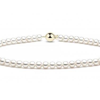 Perlový náhrdelník se zapínáním ze žlutého zlata