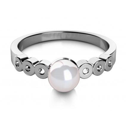 Corinne prsten z bílého zlata s pravou sladkovodní perlou
