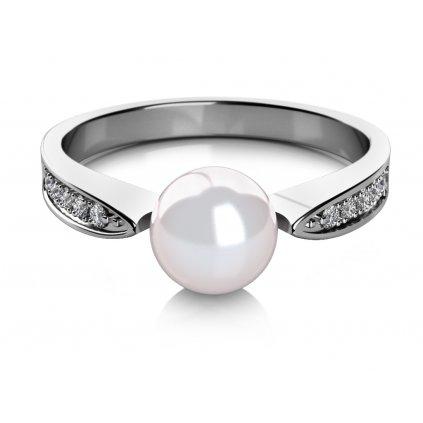 Julia prsten z bílého zlata se sladkovodní perlou a zářivým zirkonem