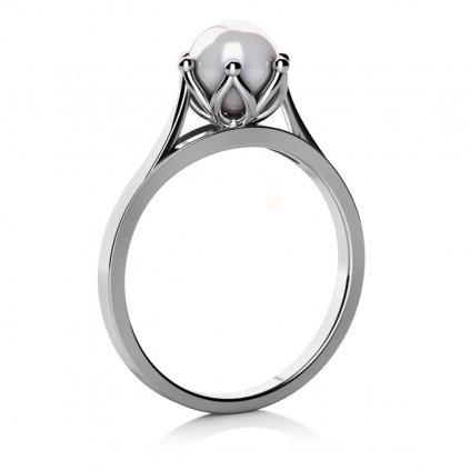 Zlatnictví LONY, prsten, bílé zlato s perlou