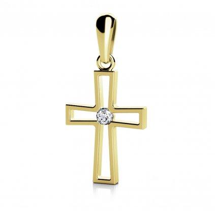 Křížek Christine – přívěsek ve žlutém zlatě se zirkonem