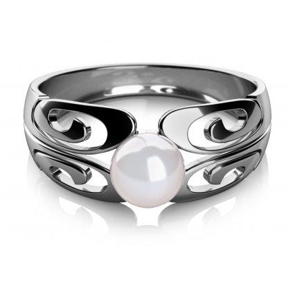 Brina prsten z bílého zlata s perlou