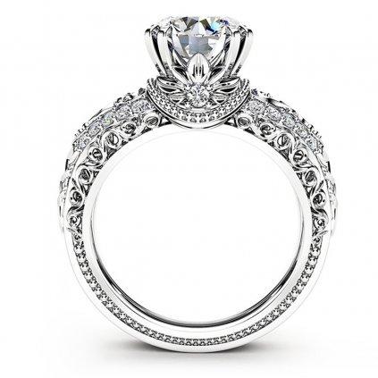 Leandra luxusní zásnubní prsten z bílého zlata s brilianty