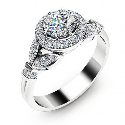 Luxusní prsten Sweet Magnolia, bílé zlato a brilianty