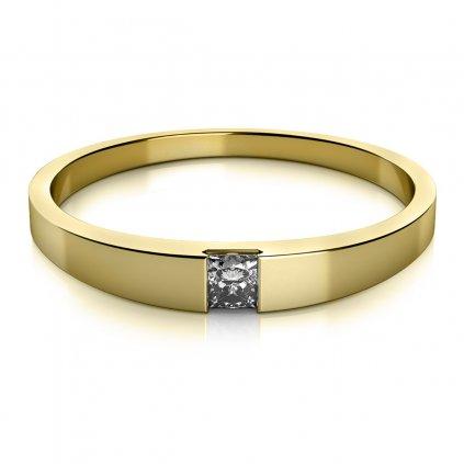 Minimalistický prsten ve žlutém zlatě se zirkonem