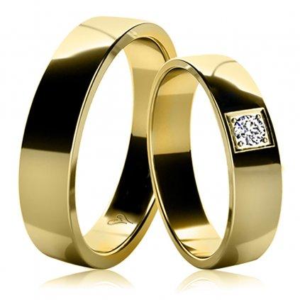 Snubní prsteny Marion ze žlutého zlata s diamantem