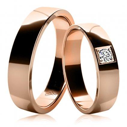 Snubní prsteny Marion ze růžového zlata s diamantem