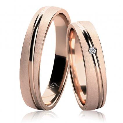 Snubní prsteny Leroy, růžové zlato s diamantem