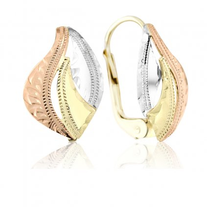 Visací náušnice Alexandra v kombinovaném zlatě
