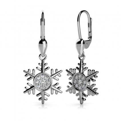Náušnice Snowflake, bílé zlato a zirkony