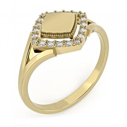 Prsten Kostka, žluté zlato se zirkony