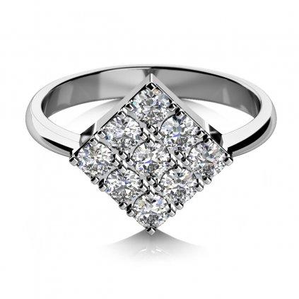Zajímavý prsten Mia, bílé zlato se zirkony