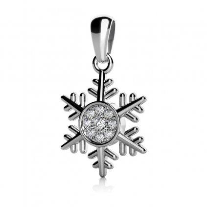 Přívěsek Snowflake – bílé zlato a zirkony