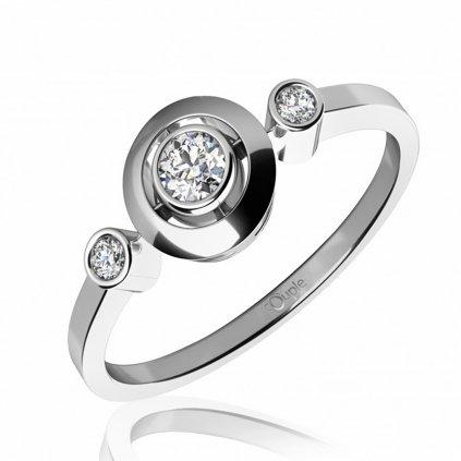 Třpytivý zásnubní prsten Korfu z bílého zlata se zirkony