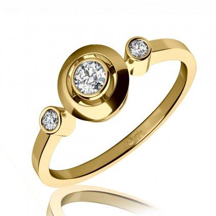 Třpytivý zásnubní prsten Korfu ze žlutého zlata se zirkony