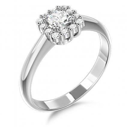 Elegantní prsten Clara, bílé zlato se zirkony
