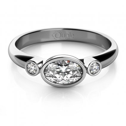 Elegantní prsten Ellie z bílého zlata