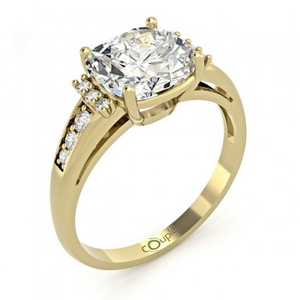 Výrazný zásnubní prsten Noisy, žluté zlato se zirkony