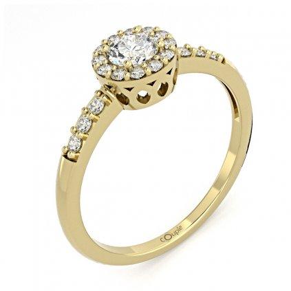 Honosný zásnubní prsten Sari, žluté zlato se zirkony