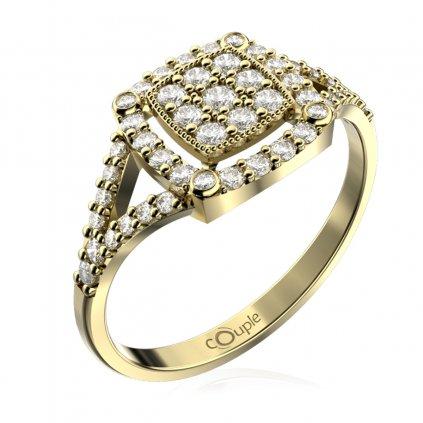 Třpytivý prsten Kostka, žluté zlato se zirkony