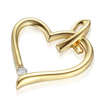 Elegantní přívěsek Libi s diamanty, žluté zlato