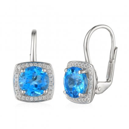 Diamantové náušnice Margott, bílé zlato a blue topaz