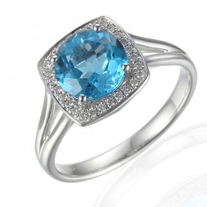 Diamantový prsten Margott, bílé zlato a blue topaz