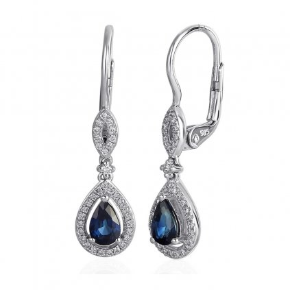 Diamantové náušnice Audrey, bílé zlato s brilianty a safíry