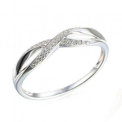 Půvabný prsten Lily, bílé zlato a brilianty