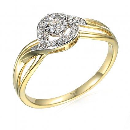 Prsten s diamanty Sirah, ze žlutého zlata
