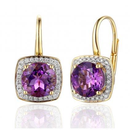 Diamantové náušnice Margott, žluté zlato a ametyst