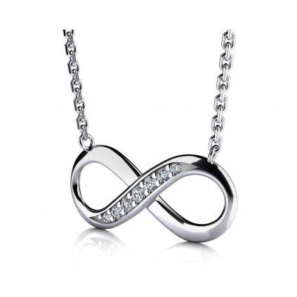 Infinity náhrdelník z bílého zlata se zirkony