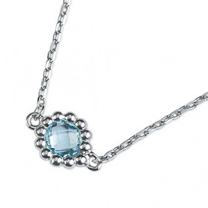 Leslie náhrdelník z bílého zlata doplněná o modrý topaz