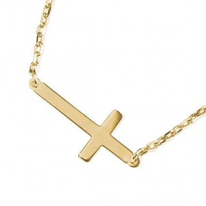 Lima náhrdelník ze žlutého zlata se symbolem křížku