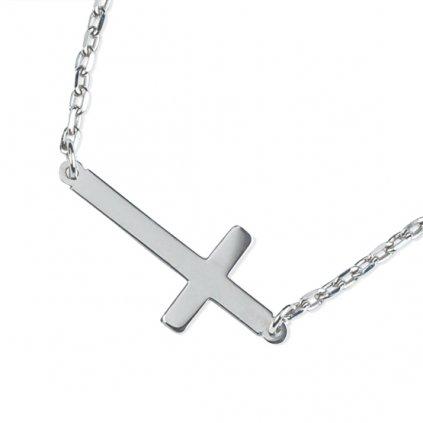 Lima náhrdelník z bílého zlata se symbolem křížku doplněný o zirkon