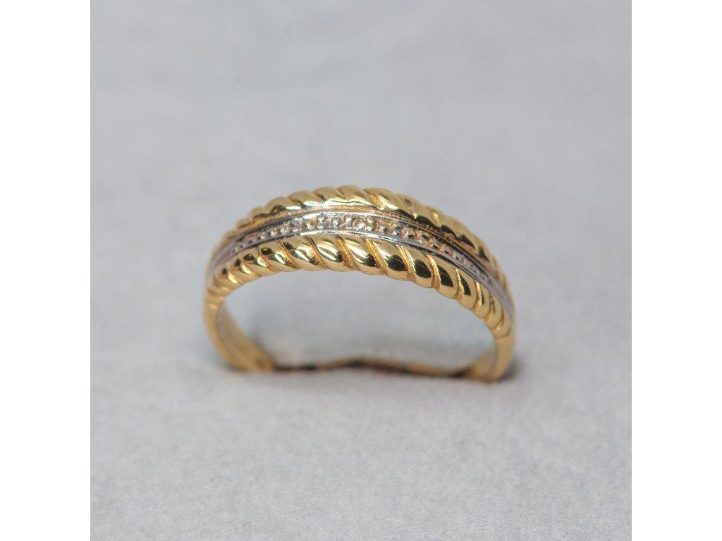Dvoubarevný prsten se zirkonem, vel. 55