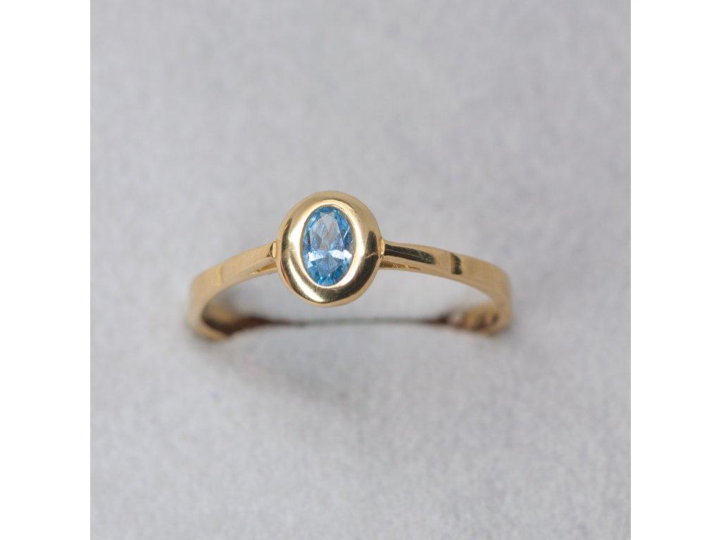 Prsten s modrým zirkonem, vel. 56