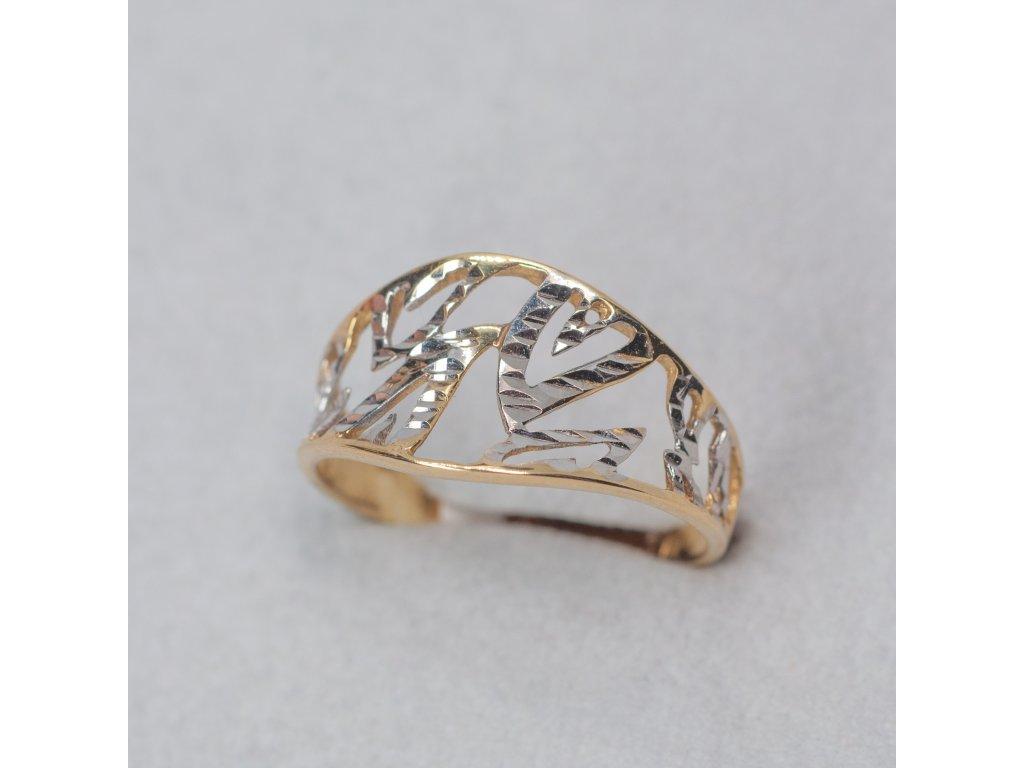 Dvoubarevný zdobený prsten, vel. 57