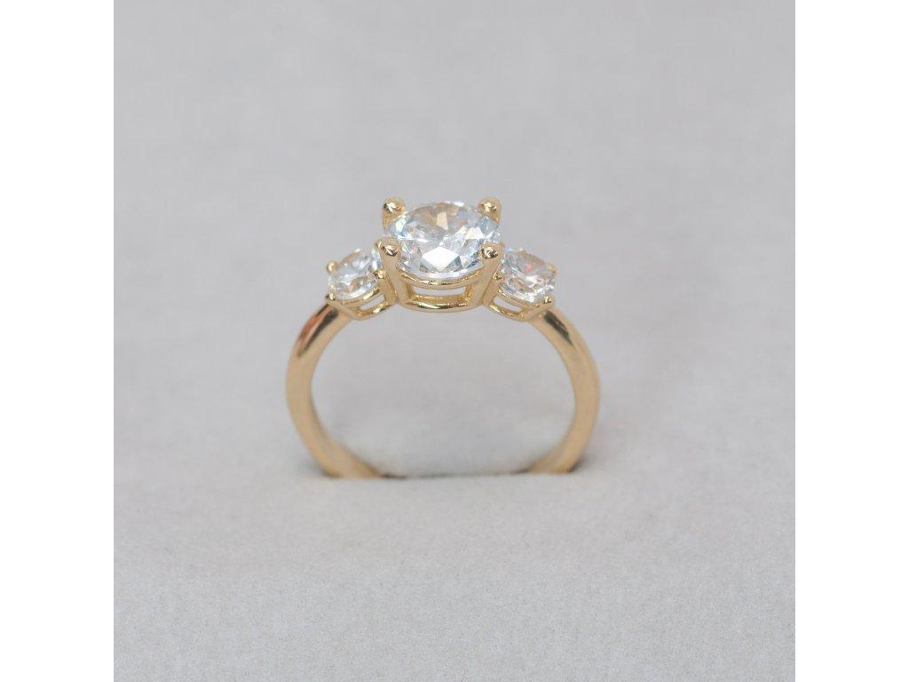 Prsten se třemi zirkony, vel. 51