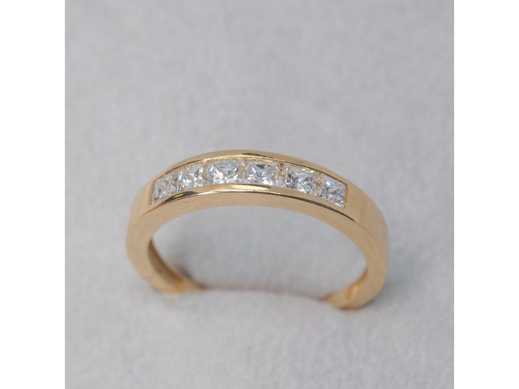 Prsten se čtvercovými zirkony, vel. 60